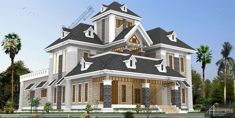 european style house,  luxury kerala home design, colonial style, Arkitecture Studio