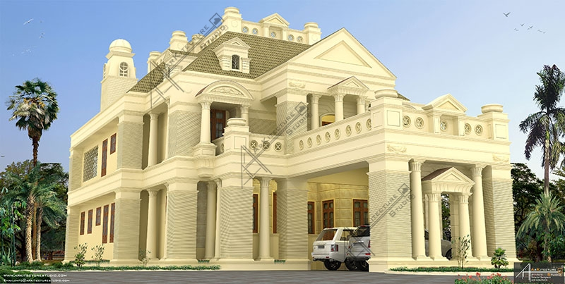 classic style house design, dream house design, best architect in kerala, kerala architecture, khd,