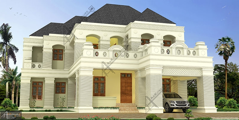 colonial kerala home design, architect in kerala, luxury Bungalow design, Home Design in Kerala, 6BHK, Calicut home design, Kozhikode home design, Super Luxury homes design
