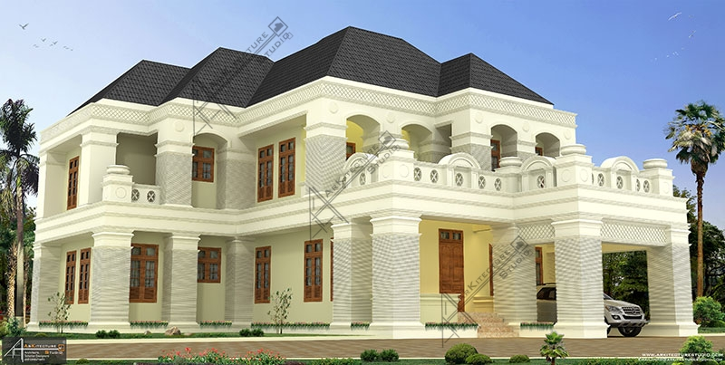 colonial kerala home design, architect in kerala, luxury Bungalow design, Home Design in Kerala, 6BHK, arabic style house, top architect, Biggest house
